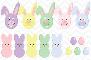 Clip Art Easter Candy Eggs and Bunny