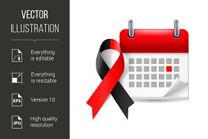 Red and black awareness ribbon and c