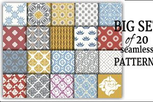Set of 20 vector seamless patterns