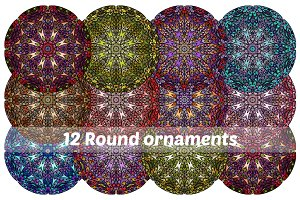 SET of 12 Round ornaments