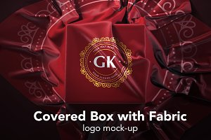 Covered Box with Fabric Logo Mock-up
