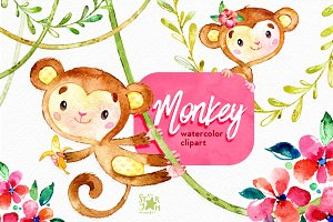 Monkey. Watercolour clip art.