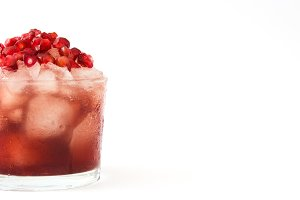 Red cocktail with pomegranate
