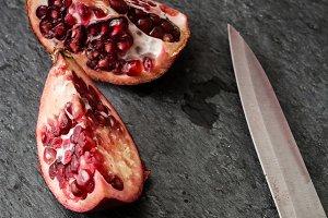 Pomegranate on slate