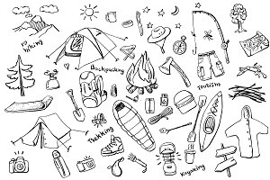 Camping doodles collection