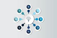 Round infographics 8 steps flowchart