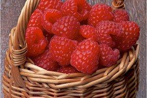 Basket with Raspberries