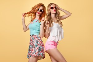 Fashion Hipster girl in Stylish Summer Outfit, Fun
