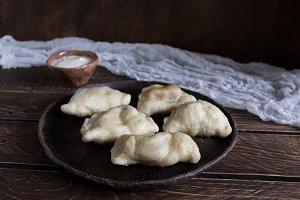 dumplings on a brown background