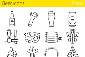 Beer. 16 linear icons set. Vector