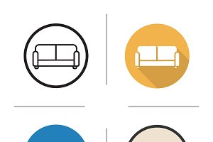 Sofa. 4 icons. Vector