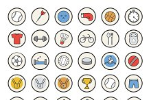 Active sport games. 36 icons. Vector