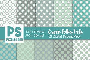 Green & White Polka Dots Pattern
