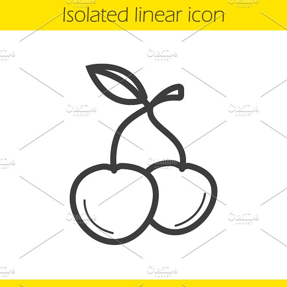 Cherries linear icon. Vector - Icons