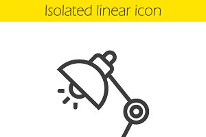 Table lamp linear icon. Vector