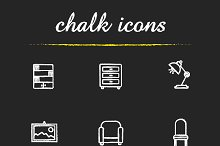 House furniture. 9 icons. Vector