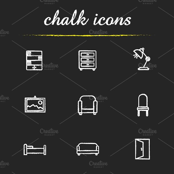 House furniture. 9 icons. Vector - Icons