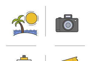Travel. 4 color icons set. Vector