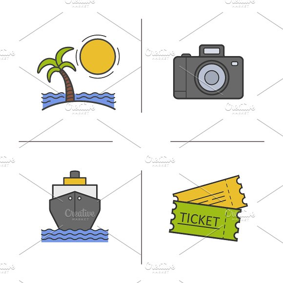 Travel. 4 color icons set. Vector - Icons