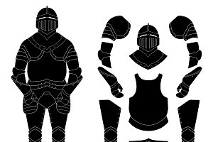 Medieval knight armor set. Vector