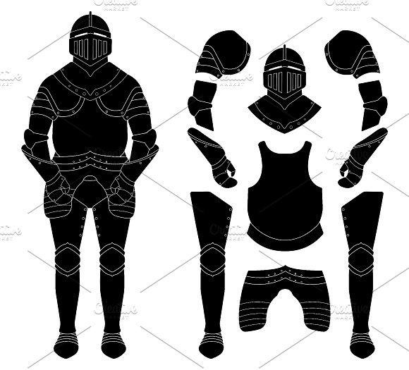Medieval knight armor set. Vector - Illustrations