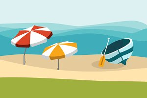 Summer beach with color umbrellas