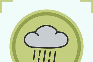Rain cloud color icon. Vector
