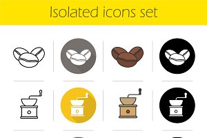 Coffee. 12 icons. Vector