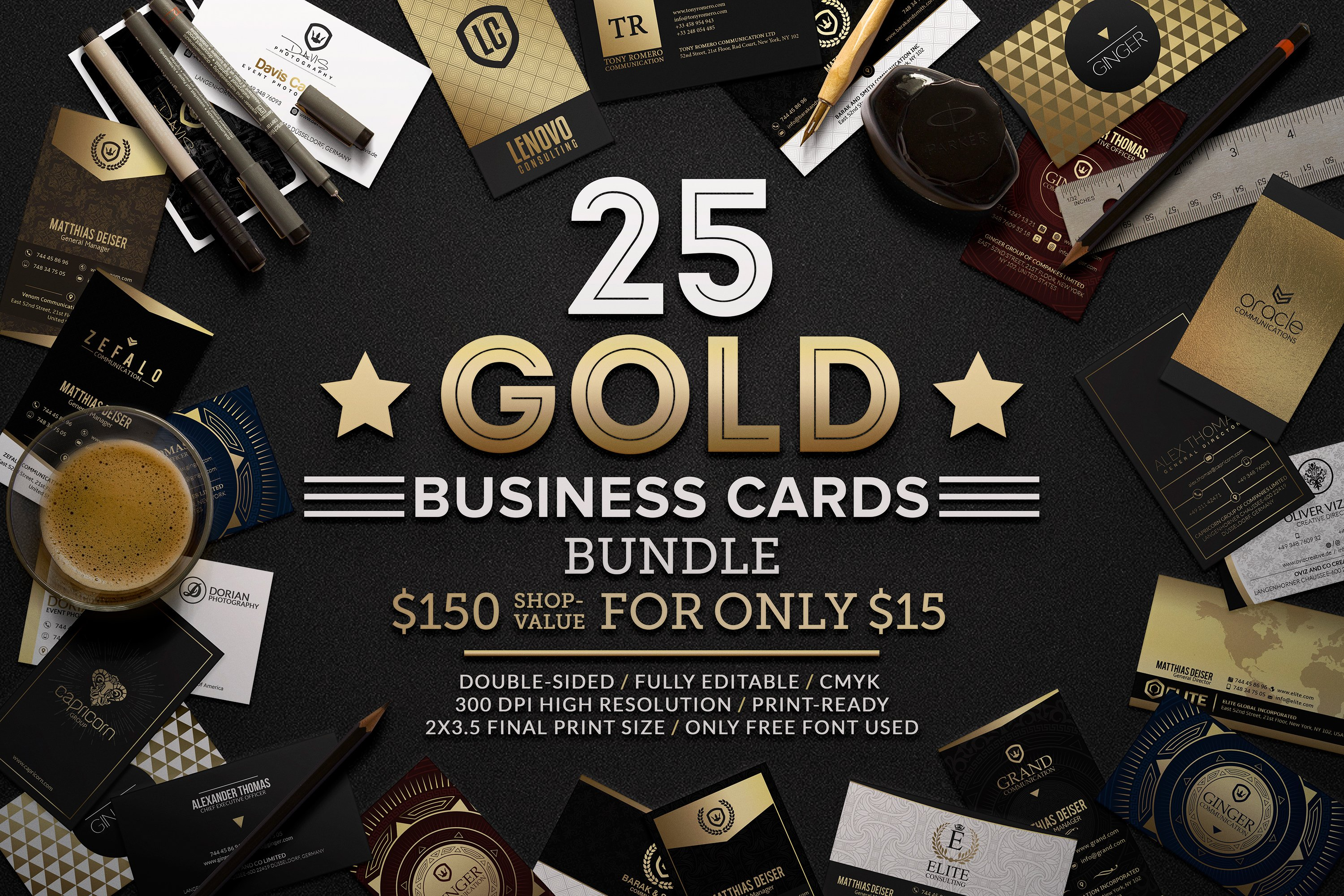 25 gold business cards bundle business card templates creative 25 gold business cards bundle business card templates creative market wajeb Images