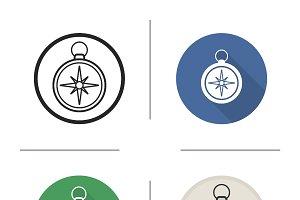 Compass. 4 icons. Vector