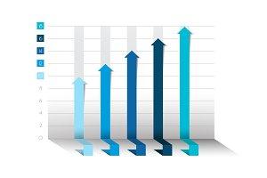 3D blue chart, graph