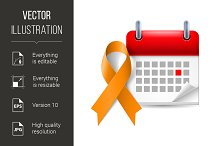 Orange awareness ribbon and calendar