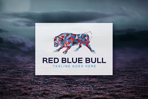 Red Blue Bull - Geometric Logo