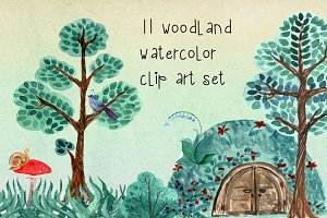 11 Watercolor Woodland Clip Art Set