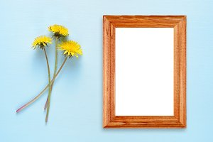 Dandelion flowers and photo frame