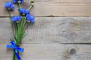 Bouquet of blue cornflowers