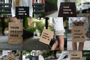 Set from 8 paper bags Mockups