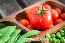 Green peas, tomato and chili pepper
