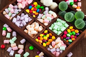 Mix of candies and sweets
