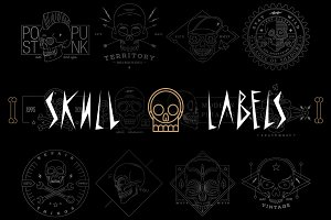 Set of Skull Labels
