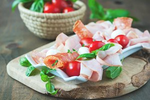 Ham, salami, antipasto
