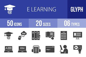 50 E Learning Glyph Icons