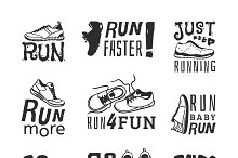 Running labels vector illustration