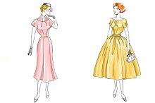 Set of Retro fashion 50s - 6girls