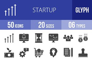 50 Startup Glyph Icons