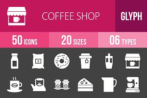 50 Coffee Shop Glyph Inverted Icons