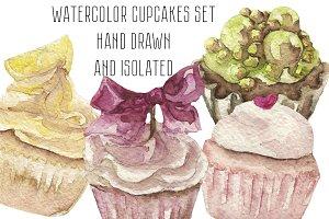 Watercolor cupcakes set
