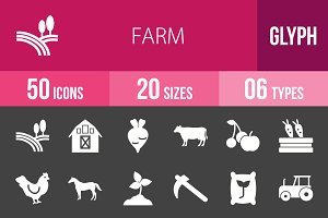 50 Farm Glyph Inverted Icons