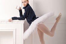 Ballerina in a warm sweater
