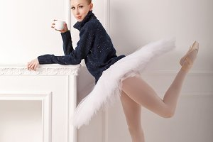 Ballerina in a warm sweater